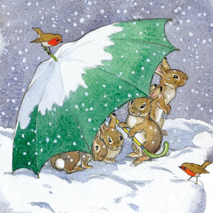 Rabbits Sheltering Under Umbrella